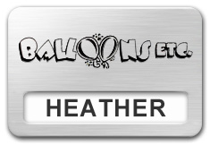 Reusable Smooth Plastic Window Name Tag: Brushed Aluminum with Black - LM922-354