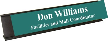 Celadon Green Plastic Plate with White Text, Black Deskplate