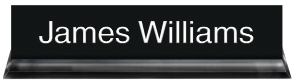 Black Plastic Plate with White Text,Black Acrylic Deskplate