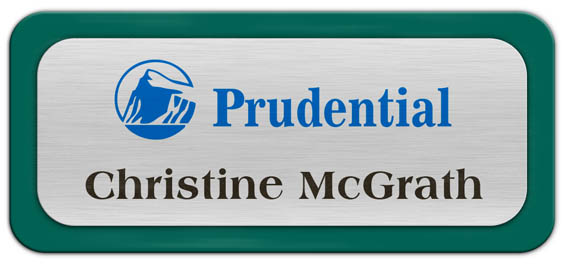 Metal Name Tag: Brushed Silver Metal Name Tag with a Pine Green Plastic Border