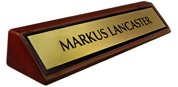 Metal Brushed Gold, Black Border Plate on a Rosewood Piano Finish Deskplate 8""