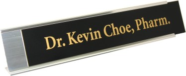 Black Plastic Plate with Gold on Silver Deskplate