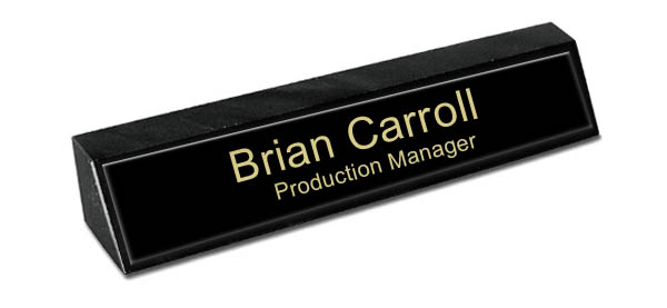 Black Marble Desk Name Plate - Black Metal Name Plate with Gold Engraving