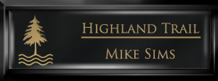 Framed Name Tag: Black Plastic (squared corners) - Black and Gold Plastic Insert with Epoxy