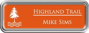 Framed Name Tag: Silver Plastic (rounded corners) - Tangerine and White Plastic Insert