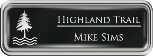 Framed Name Tag: Silver Plastic (rounded corners) - Black and White Plastic Insert with Epoxy