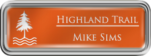 Framed Name Tag: Silver Plastic (rounded corners) - Tangerine and White Plastic Insert with Epoxy