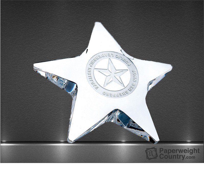 3/4 x 4 x 4 Inch Pentagon Star Optic Crystal Paperweight