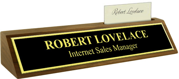 Black Metal Plate with Gold Engraving, Shiny Gold Border on a Walnut Deskplate with Card Slot
