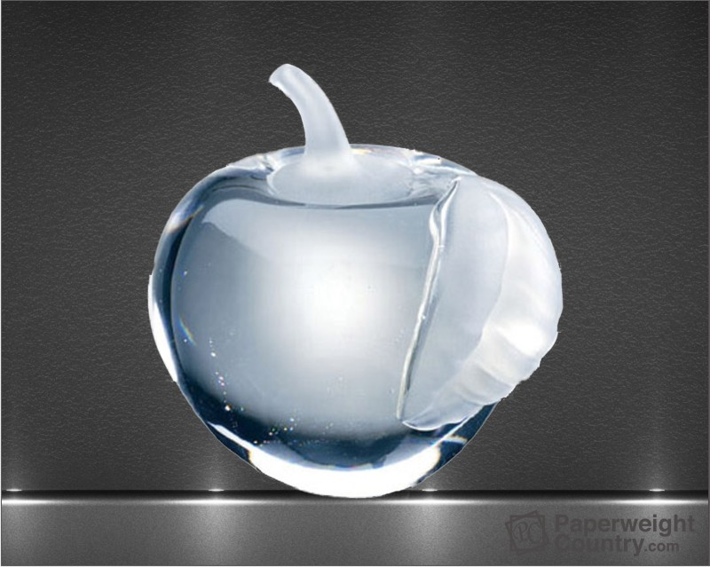 3 1/8 x 2 7/8 x 2 7/8 Inch Molten Glass Apple with Frosted Leaf Paperweight