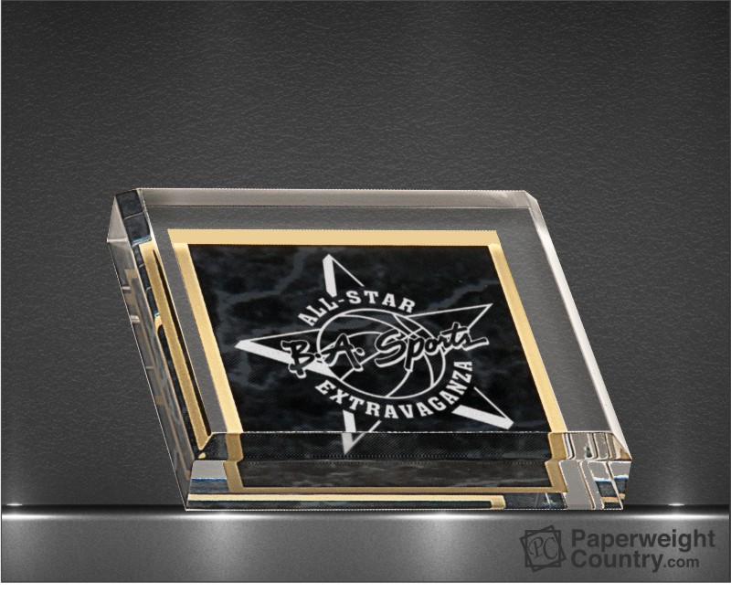PC - 3 3/4 x 3 3/4 Inch Black Marbleized Acrylic Paperweight