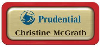 Metal Name Tag: Brushed Gold Metal Name Tag with a Red Plastic Border and Epoxy