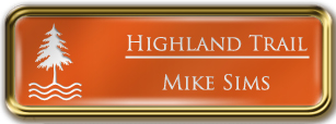 Framed Name Tag: Gold Metal (rounded corners) - Tangerine and White Plastic Insert with Epoxy