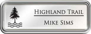 Framed Name Tag: Silver Plastic (rounded corners) - White and Black Plastic Insert with Epoxy