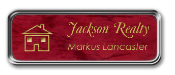 Silver Metal Framed Nametag with Port Wine and Gold