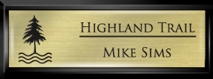 Framed Name Tag: Black Plastic (squared corners) - Euro Gold and Black Plastic Insert with Epoxy