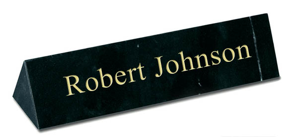 Black Marble Triangle Desk Plate - Gold Engraving