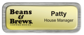 Metal Name Tag: Shiny Gold with Brushed Silver Metal Border