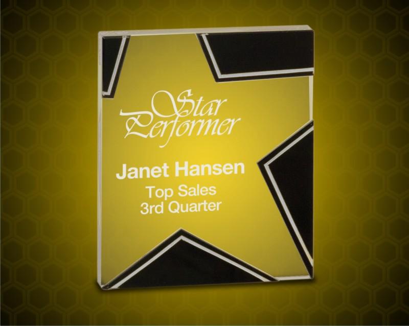 4 1/2 x 5 1/2 Inch Black/Silver Glass Star