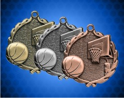 1 3/4 Inch Basketball Wreath Medal
