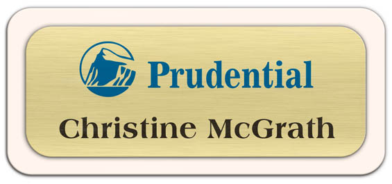 Metal Name Tag: Brushed Gold Metal Name Tag with a Sand Plastic Border