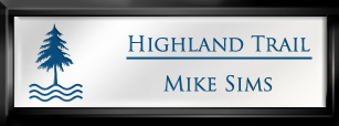 Framed Name Tag: Black Plastic (squared corners) - White and Sky Blue Plastic Insert with Epoxy