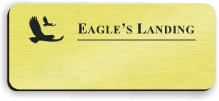 Blank Smooth Plastic Name Tag with Logo: European Gold and Black - LM 922-754
