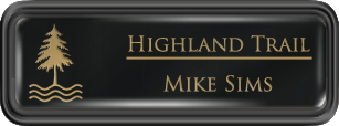 Framed Name Tag: Black Plastic (rounded corners) - Black and Gold Plastic Insert with Epoxy