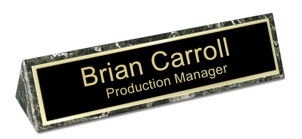 Green Marble Triangle Desk Name Plate - Black and Gold Plate with Shiny Gold Border