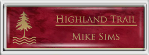 Framed Name Tag: Silver Plastic (squared corners) - Port Wine and Gold Plastic Insert with Epoxy