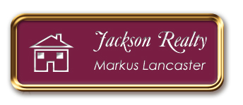 Rose Gold Metal Framed Nametag with Claret and White