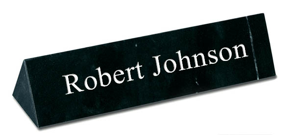 Black Marble Triangle Desk Plate - White Engraving