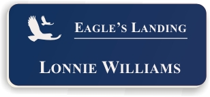 Smooth Plastic Name Tag: Patriot Blue with White - LM922-552