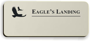 Blank Smooth Plastic Name Tag with Logo: Almond and Black - LM 922-854