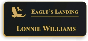 Smooth Plastic Name Tag: Black with Gold - LM922-417