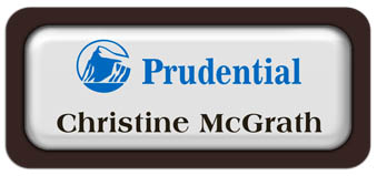 Metal Name Tag: White Metal Name Tag with a Dark Brown Plastic Border and Epoxy