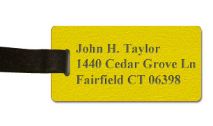 Textured Plastic Luggage Tag: Acid Yellow with Dark Brown - 822-778