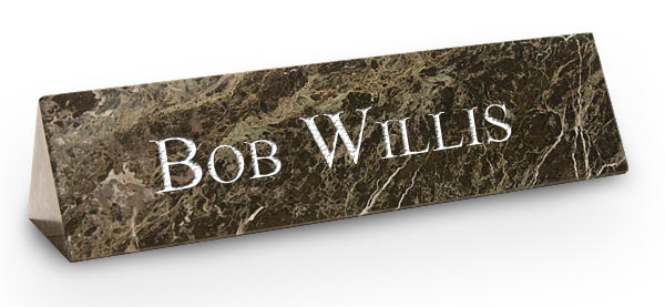 Green Marble Triangle Desk Plate with White Engraving