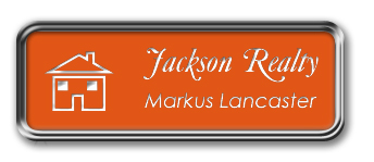 Silver Metal Framed Nametag with Tangerine and White