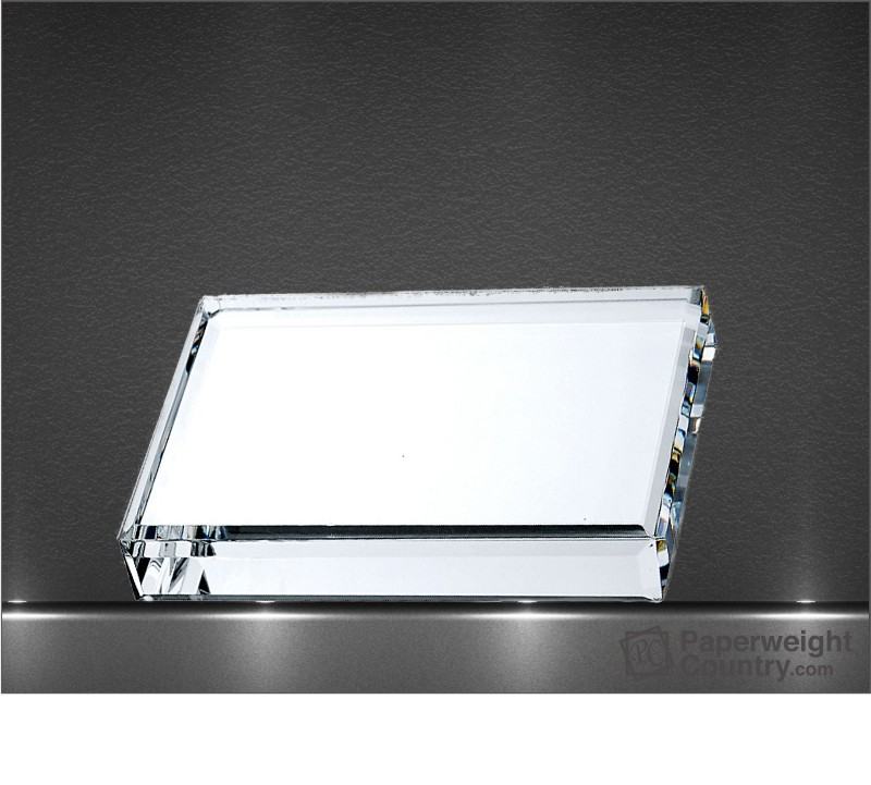 3/4 x 5 x 3 Inch Beveled Rectangle Optic Crystal Paperweight
