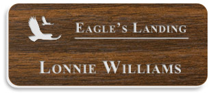 Smooth Plastic Name Tag: Walnut with White - 922-002