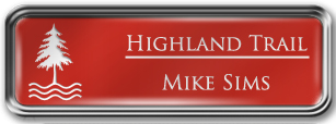 Framed Name Tag: Silver Metal (rounded corners) - Crimson and White Plastic Insert with Epoxy