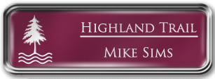 Framed Name Tag: Silver Metal (rounded corners) - Claret and White Plastic Insert with Epoxy