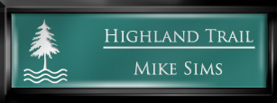 Framed Name Tag: Black Plastic (squared corners) - Celadon Green and White Plastic Insert with Epoxy