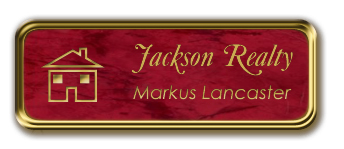 Gold Metal Framed Nametag with Port Wine and Gold