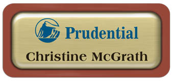 Metal Name Tag: Brushed Gold Metal Name Tag with a Canyon Plastic Border and Epoxy