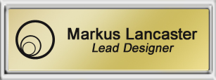 Framed Name Tag: Silver Plastic (squared corners) - Shiny Gold and Black Plastic Insert