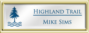 Framed Name Tag: Gold Plastic (squared corners) - White and Sky Blue Plastic Insert with Epoxy