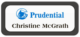 Metal Name Tag: White Metal Name Tag with a Charcoal Grey Plastic Border