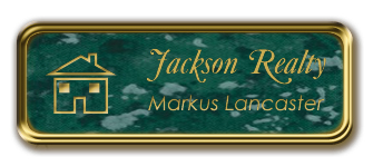 Gold Metal Framed Nametag with Verde and Gold